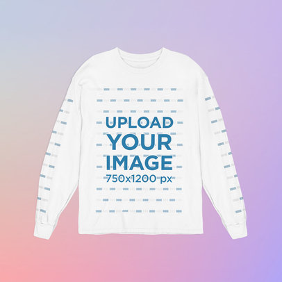 Mockup of a Long Sleeve Tee with Customizable Sleeves m1015