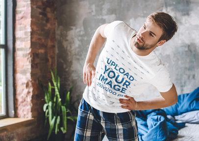 Tee Mockup of a Man in His PJs Stretching 46497-r-el2