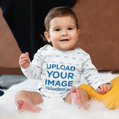 Mockup of a Baby Boy Wearing a Sublimated Long-Sleeve Onesie m980