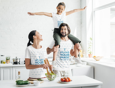 T-Shirt Mockup of a Happy Family Having Fun in While Cooking 45980-r-el2