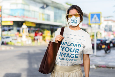 Face Mask Mockup Featuring a Woman with a Tee and Retro Glasses 46266-r-el2