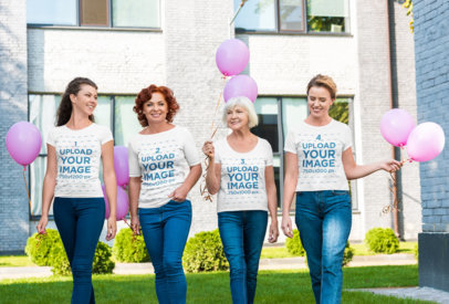 T-Shirt Mockup of a Group of Women Commemorating Breast Cancer Awareness 45984-r-el2