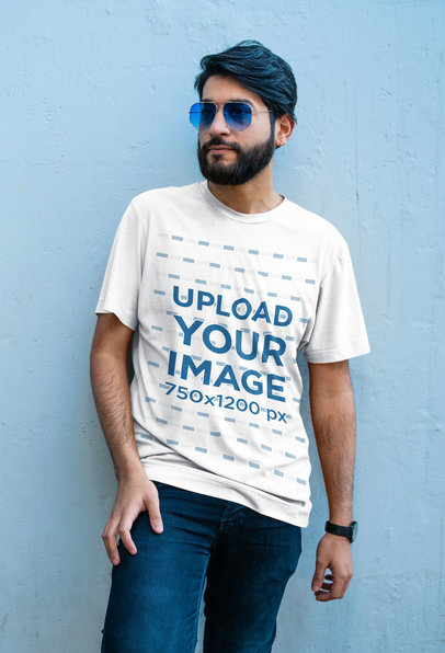 T-Shirt Mockup of a Bearded Man With Sunglasses Posing Against a Colored Wall 41820-r-el2
