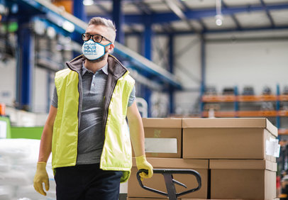 Mockup Featuring a Warehouse Worker Wearing a Face Mask 46033-r-el2