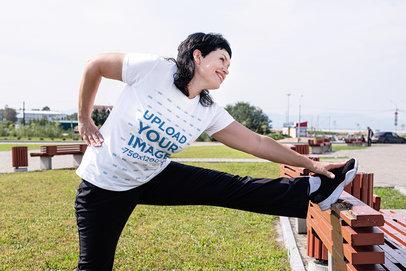 T-Shirt Mockup Featuring a Woman Stretching 46240-r-el2