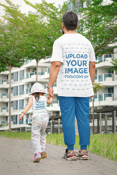 Back-View T-Shirt Mockup Featuring a Dad Walking with His Daughter 46232-r-el2