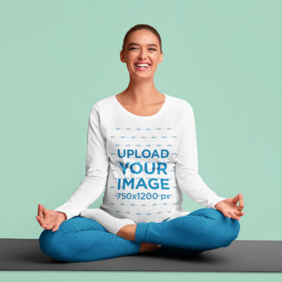 Long Sleeve Tee Mockup Featuring a Pregnant Woman in a Seated Yoga Pose 46072-r-el2