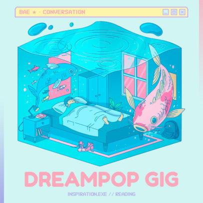 Dreamy Album Cover Design Template for Electro-Pop Music 3312