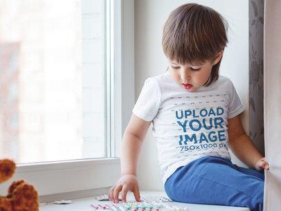 T-Shirt Mockup of a Kid Sitting by a Window 46273-r-el2