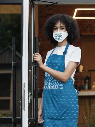 Face Mask and Apron Mockup Featuring a Long-Haired Woman 46447-r-el2