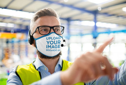 Mockup of a Bearded Man Wearing a Face Mask at Work 45997-r-el2