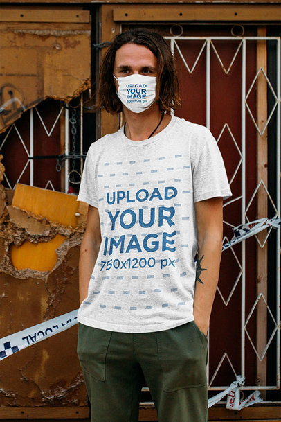 T-Shirt and Face Mask Mockup of a Young Long-Haired Man 46214-r-el2