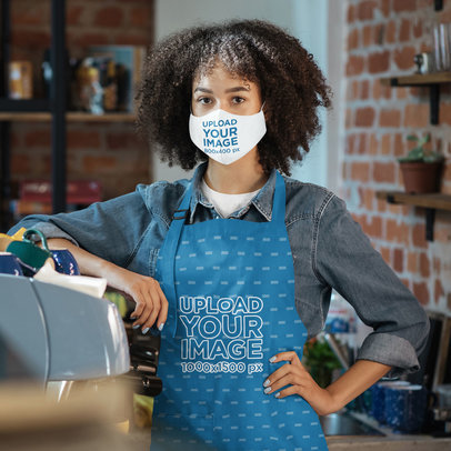 Apron and Face Mask Mockup Featuring a Young Woman at Work 46445-r-el2