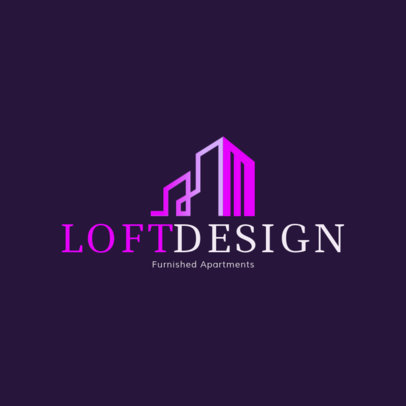 Modern Logo Template for a Lofts Design Agency with a Gradient-Stroke Icon 3991J