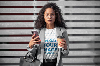 T-Shirt Mockup Featuring a Business Woman with Glasses 46376-r-el2