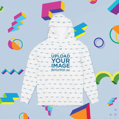 Mockup of a Sublimated Hoodie Lying Flat on a Customizable Surface m1017
