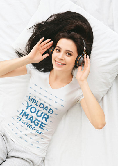 V-Neck Tee Mockup of a Woman Lying in Bed Listening to Music 46079-r-el2
