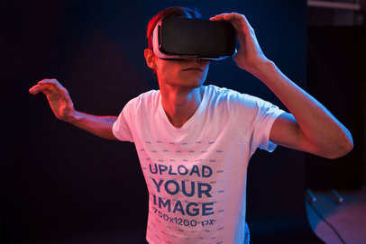 T-Shirt Mockup of a Gamer with a Virtual Reality Device 46439-r-el2