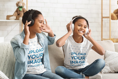 T-Shirt Mockup of Two Sisters Listening to Music Together 46115-r-el2