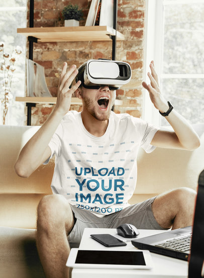 T-Shirt Mockup of a Man Playing with a VR Device at Home 46559-r-el2