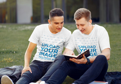 T-Shirt Mockup Featuring Two Students at a Park 46411-r-el2