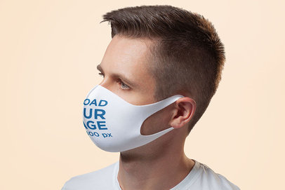 Mockup of the Profile of a Man Wearing a Customizable Face Mask 4990-el1