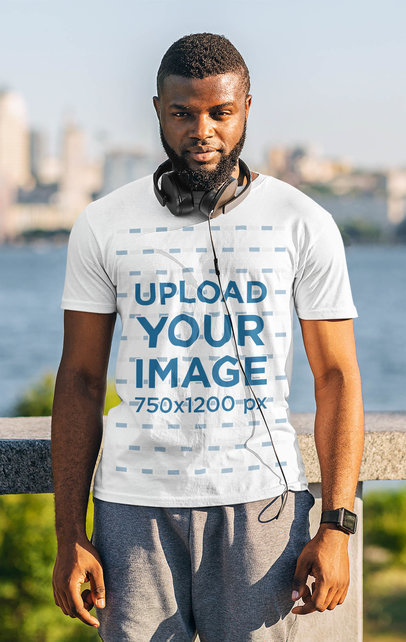 Activewear Mockup of a Bearded Man With a T-Shirt Posing by a River 46353-r-el2