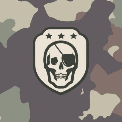 Patreon Profile Picture Design Templat with a Skull Graphic and a Camo Background 3388e-el1