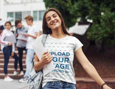 T-Shirt Mockup Featuring a Happy Woman at College 46546-r-el2