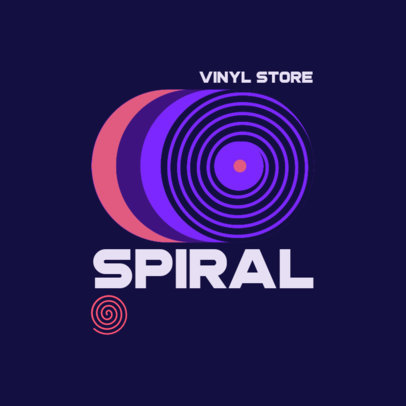 Music Store Logo Generator Featuring a Spiral Icon and a Retro Color Scheme 3986k