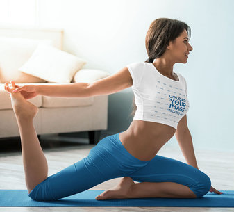 Crop Top Mockup Featuring a Woman Doing a Yoga Pose at Home 46017-r-el2