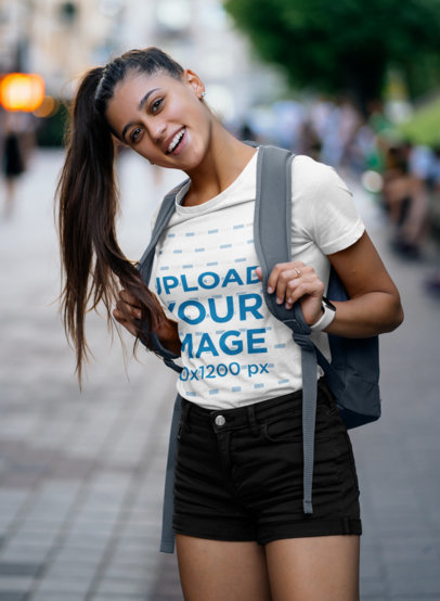 T-Shirt Mockup of a Young Woman Going to School with a High Pony Tail 46485-r-el2
