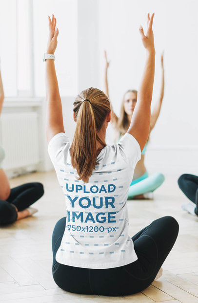 Back-View Mockup of a Yoga Teacher Wearing a T-Shirt 46360-r-el2