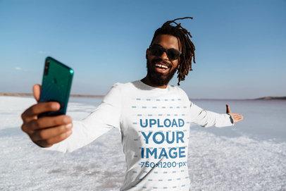 Long Sleeve Tee Mockup of a Happy Man Taking a Selfie at a Salt Flat 45658-r-el2
