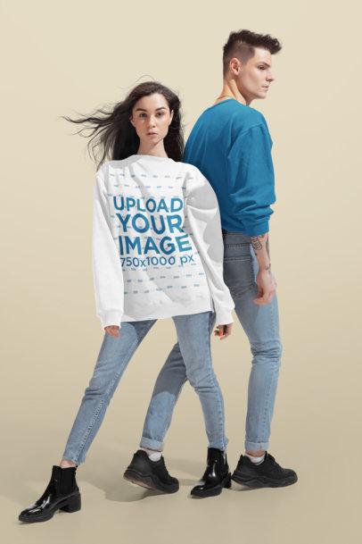 Crewneck Sweatshirt Mockup of a Woman Posing at a Studio with Her Boyfriend 46584-r-el2