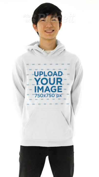 Pullover Hoodie Video of a Young Man Posing in a Studio 44647v