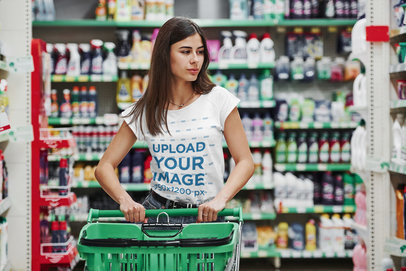 T-Shirt Mockup Featuring a Long-Haired Woman at the Supermarket 46527-r-el2
