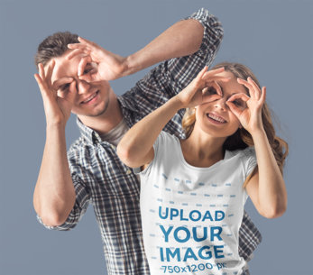 T-Shirt Mockup of a Woman Doing Funny Faces with Her Boyfriend 46575-r-el2