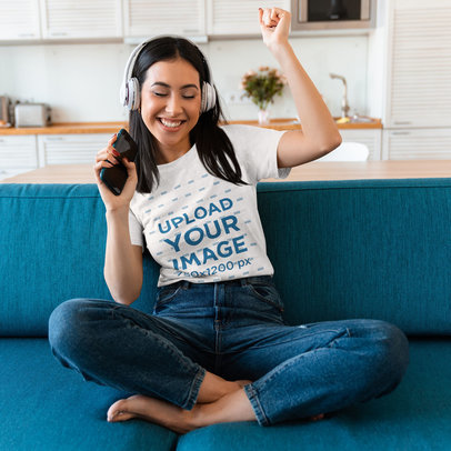 T-Shirt Mockup of a Woman Enjoying Her Music at Home 46582-r-el2