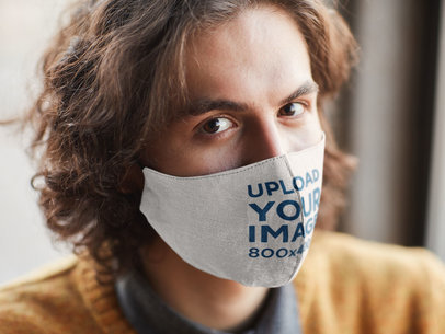 Mockup Featuring the Closeup of a Man Wearing a Face Mask 46802-r-el2