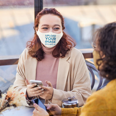 Face Mask Mockup of a Young Woman Talking with a Friend 46800-r-el2