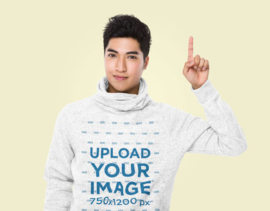 Heathered Hoodie Mockup Featuring a Man Pointing Up at a Studio 46723-r-el2