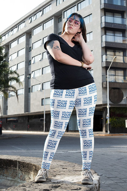 Leggings Mockup Featuring a Tattooed Woman in an Urban Setting 25018a