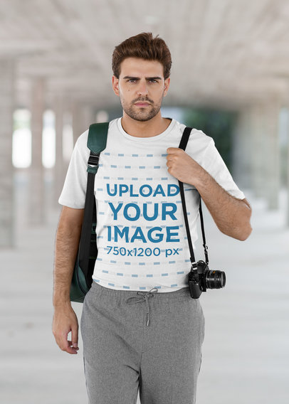 T-Shirt Mockup Featuring a Young Photographer 42270-r-el2