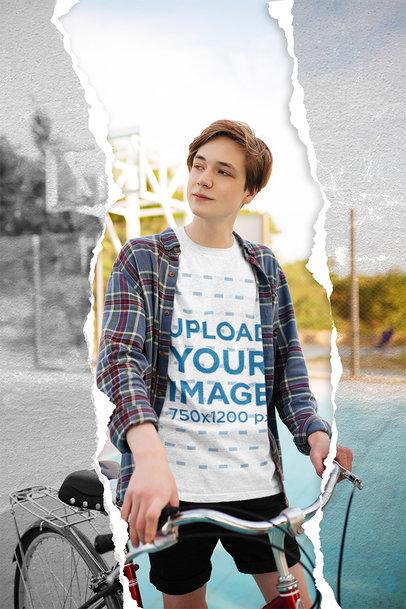 Mockup of a Teenage Boy Wearing a Heather Tee and a Plaid Shirt 5022-el1