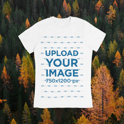 T-Shirt Mockup Featuring an Autumn-Season Background m1100