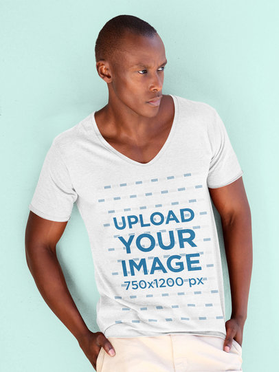 Mockup of a Trendy Man Modeling a V-Neck Tee in a Studio 46781-r-el2