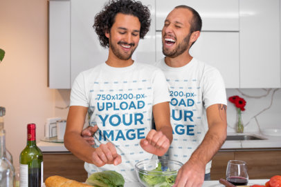 T-Shirt Mockup of an LGBT Couple Having Fun While Cooking m1047