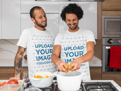 T-Shirt Mockup Featuring a Couple Cooking Pasta m1055