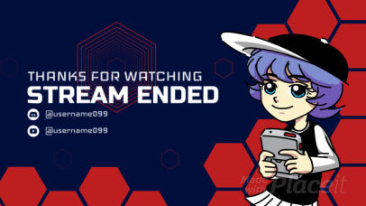 Twitch Stream Ended Video Maker Featuring an Animated Character 2608